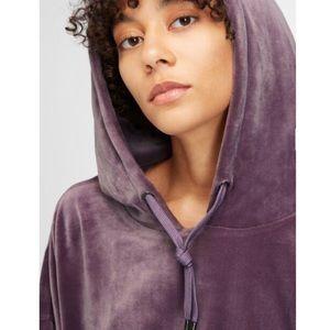 DKNY Purple Velour Cropped Hooded Sweatshirt